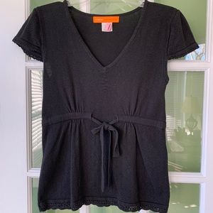 Cynthia Steffe black cap sleeve knit top size M